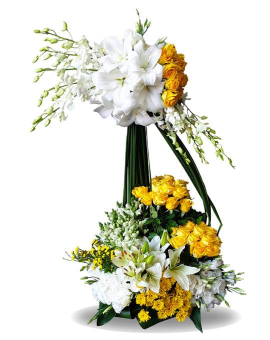 Bright-Yellow-Basket-Bonsai-Flowers-Plants